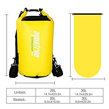 Aquafree Dry Bag, 20l Yellow Dry Backpack, Comfortable & Heavy-duty Grab Handle & Shoulder Strap, Best Material Waterproof Backpack, Quality Roll Top, Waterproof 8