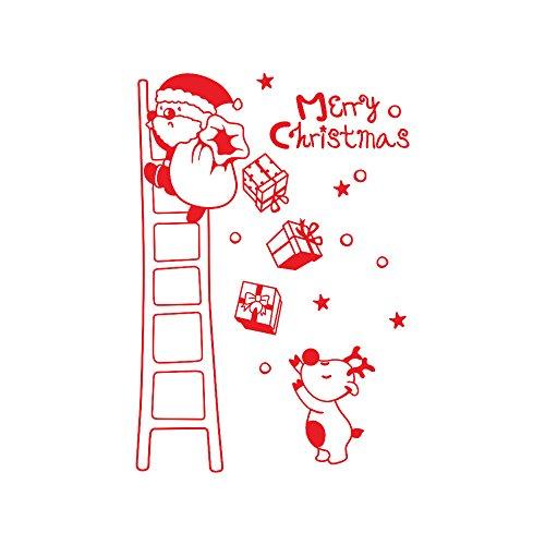 (ODJOY-FAN Wand Fenster Aufkleber Weihnachtsmann Die Leiter hinaufsteigen Wandtattoos Weihnachten Vinyl Kunst Dekoration Abziehbilder Wandbilder 40 * 60CM(Rot,1 PC))