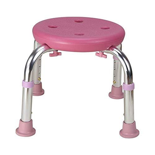 LIKEDA Stuhl Bad Holz Duschsitz Teak Stuhl Dusche Spa Arme Rückenfrei Hocker Bank Beine Rutschfester Hocker Dusche Höhenverstellbar Licht Bad Ältere Menschen Ältere Menschen,Pink