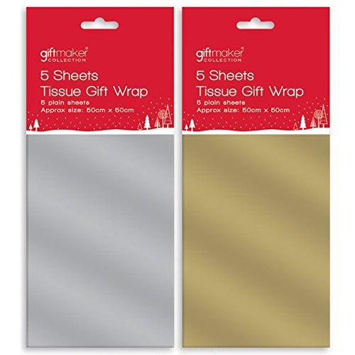 Seidenpapier Geschenkverpackung Weihnachten Geburtstag Gold Silber 50cm x 50cm - Silbern (Weihnachten Seidenpapier)