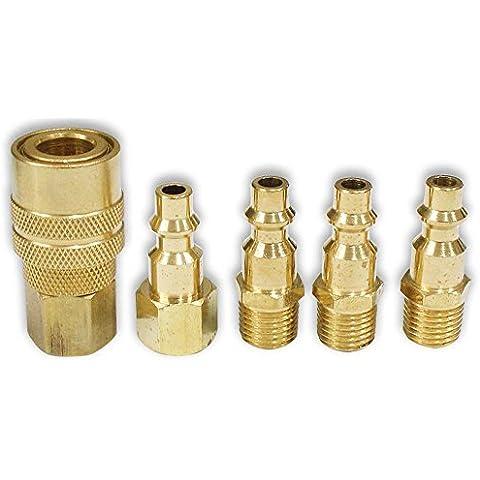 ToolUSA Accoppiatore rapido, 5 pezzi, in ottone, TU-Set FR-8237