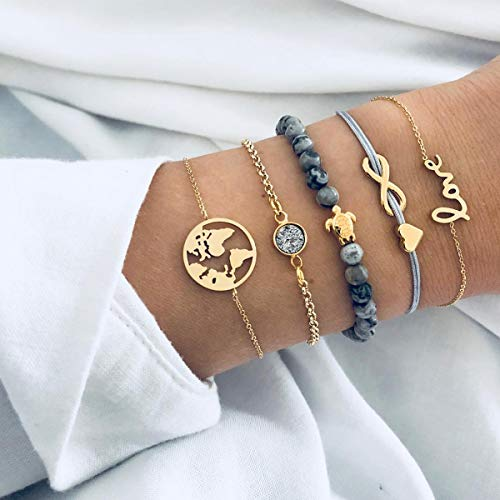 CHANQIDJIK Damen Muschel Armband,5 Stück/Set Mode Turtle Münze Karte Herzen Schreiben Liebe Crystal Charm Armband Für Frauen Farbe Gold Unendlich Kette Perlen Strang Armband Geschenk