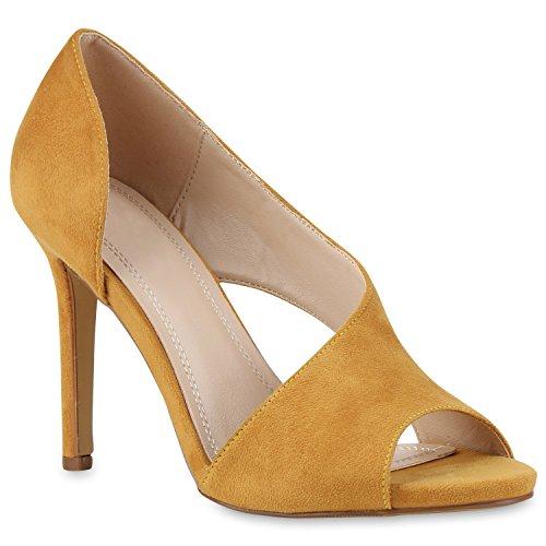 c28c68712bba1 Damen Sandaletten High Heels Pumps Stiletto Schuhe Gelb Velours -hc ...