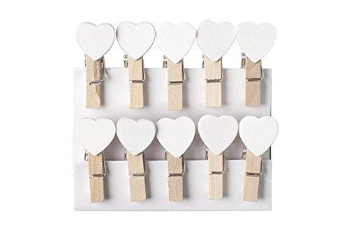 Pinces à linge avec mini-cœur en bois blanc