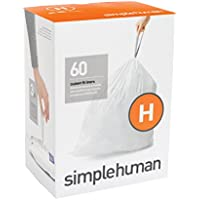 simplehuman Plástico Código H Custom Fit Bin Liner, Paquete de 60, White