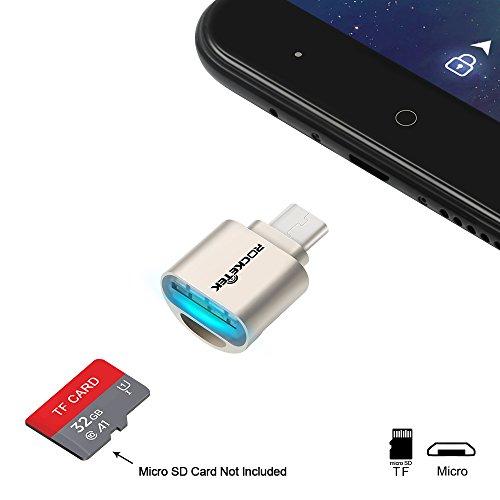 Galleria fotografica Rocketek Lettore di schede di memoria portatili OTG Micro USB per schede Micro SD / scheda TF a adattatore Micro USB