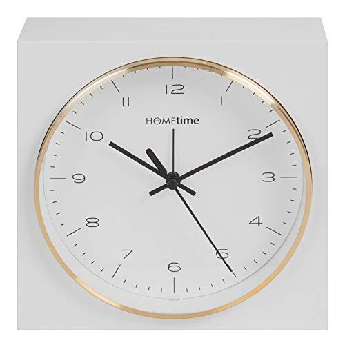 Hometime Square Alarm Clock Gold Bezel 16.5cm-W5108G