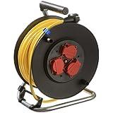 AS Schwabe 10136 - Carrete alargador de cable (metal, 25 m, diámetro de 230 mm, IP44 en exteriores), color amarillo