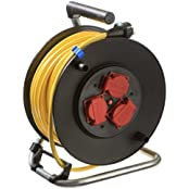 as - Schwabe Profi Kabeltrommel Outdoor, schwarz, mit 40m Kabel, IP44