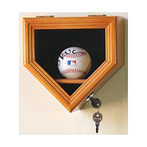 1Baseball Ball Home Plate Display Case Holder Wall Rack Box w/98% UV-schützt abschließbar-Eiche Fertig -