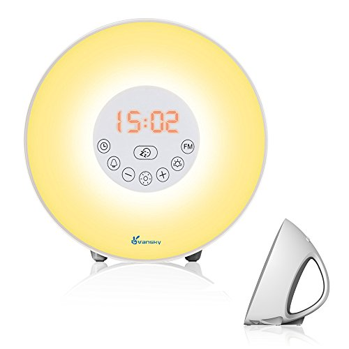 Vansky® Upgraded Radio Alarm Clock Sunrise Simulation Wake Up Light, Night Light Bedside Lamp with Nature Sounds FM Radio, 7 Colours/ 10 Brightness, Touch Control Test
