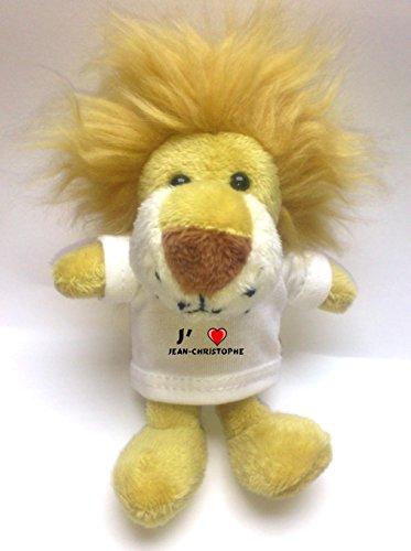 Peluche lion porte-clé avec J'aime Jean-Christophe (Noms/Prénoms)