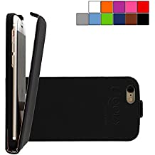 COOVY® COVER CASE CUBIERTA DELGADO FUNDA PROTECTORA CON TAPA PARA APPLE iPhone 6/6s con lámina projoectora de pantalla color negro