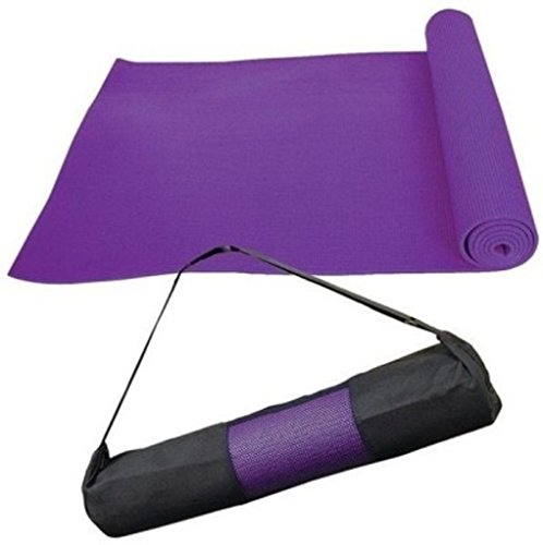 Quick Shel-Purple Coloured 4mm EVA Yoga mat with bag and TWO PAIR SPORT SOCKS