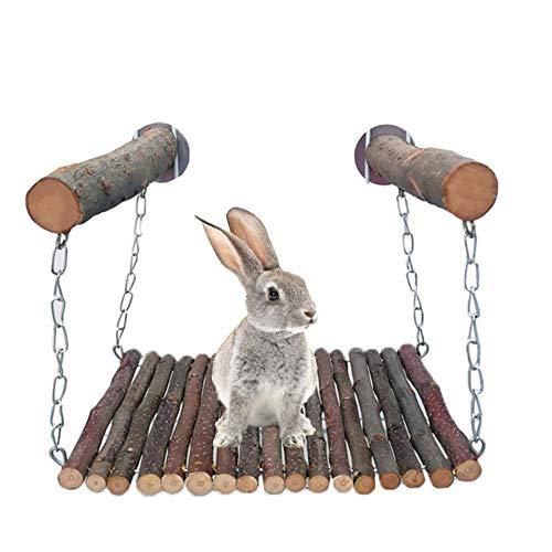 wendaby Holzstock Bett Spielzeug, Haustier Katze Eichhörnchen Kaninchen Biss Schaukel Und Klettern Holz AST Schaukel(7,87x5,91x7,09in)