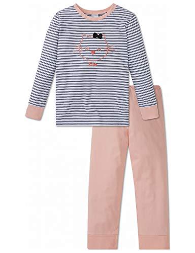 Schiesser Mädchen Cat Zoe Md Anzug lang Zweiteiliger Schlafanzug, Rot (Rosé 506), Herstellergröße: 128