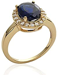 ISADY - Ava Gold Saphir - Women's Ring - 18ct yellow gold plated - Cubic Zirconia Clear and Blue
