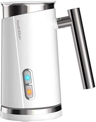 HadinEEon Milchaufschäumer elektrisch Milchaufschäumer Edelstahl Automatischer Milchschäumer Erhitzen und Aufschäumen für heiße und kalte Milch, 300ml/130ml, 500w, Weiß