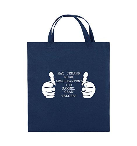 Comedy Bags - HAT JEMAND NOCH ARSCHKARTEN - Jutebeutel - kurze Henkel - 38x42cm - Farbe: Schwarz / Silber Navy / Weiss