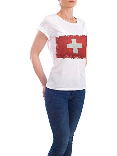 """Design T-Shirt Frauen Earth Positive """"Flag of Switzerland"""" - stylisches Shirt Reise Reise / Länder von Bruce Stanfield Weiß"""