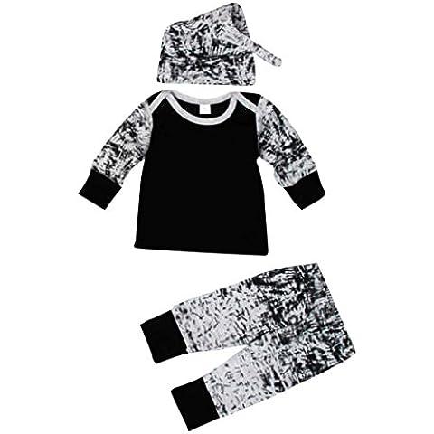 Kingko® Neonati Outfit vestiti a maniche lunghe stampa T-shirt + pantaloni lunghi + Cappello 1 Set