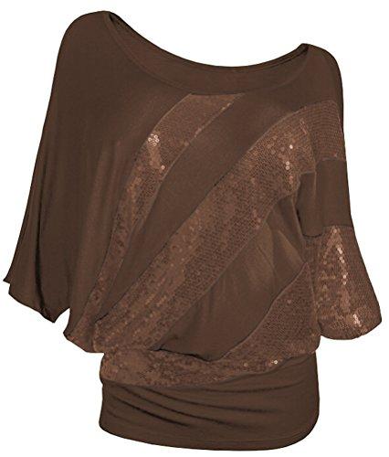 SMITHROAD Damen T-Shirt mit Pailletten Aufdruck Fledermaus Shrit Top Kurzarm dehnbar Rundhalsausschnitt Loose Fit Braun