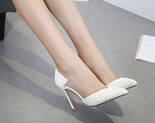 Aisun Damen Elegant Transparent High Heels Spitz Zehen Stiletto Pumps Weiß