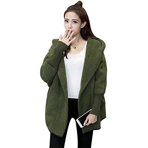 Homedecoam Damen Loose Warm Wintermantel Wolle Kurzmantel Winterjacke mit Kapuze Grün