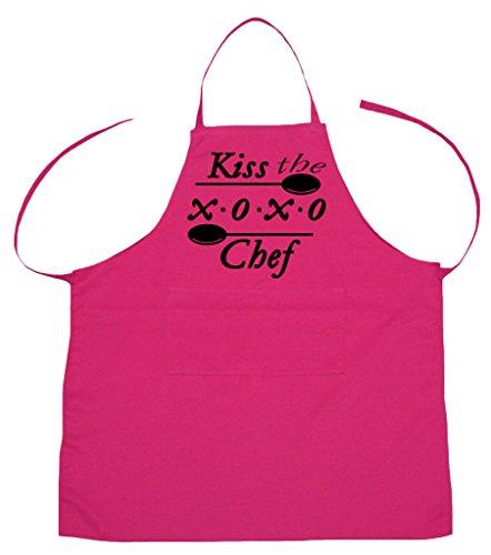 petitebelle Kiss the XOXO Chef Polyester Küche Schürze für Erwachsene, Polyester-Mischgewebe, hot pink, Einheitsgröße