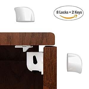 kindersicherung schrank baby schranksicherung 8er set magnetisches schrankschloss. Black Bedroom Furniture Sets. Home Design Ideas