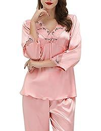 b8f674e960 Aivtalk Damen Pyjama Set Schlafanzug aus Kunstseide lang Hose + V-Ausschnitt  Nachthemd Für Braut