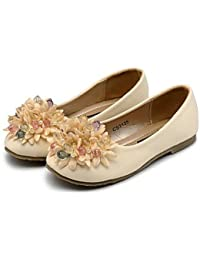 Wuyulunbi@ Cómodo Apartamento De Chica Chica Flor Zapatos De Cuero Artificial Caída De Primavera Vestidos De Boda Y La Flor Chica Comodidad Durante La Noche,Beige,Us3 / Ue34 / Uk2 Niños Pequeños
