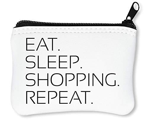 Eat Sleep Repeat Funny Slogan Reißverschluss-Geldbörse Brieftasche Geldbörse