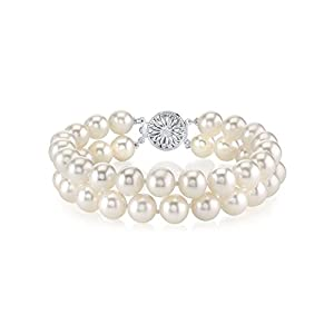 7.0-7.5mm White Freshwater Cultured Pearl Double Bracelet - AAAA Quality