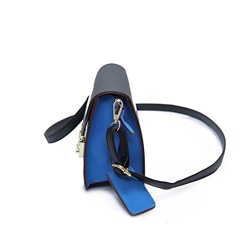 Moda Blocco Pacchetto Selvaggio Combattimento Colore Tendenza Spalla Borse Blue