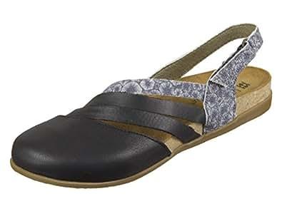 El Naturalista Damenschuhe NF45 Zumaia Modische Damen Sandale mit Korkfussbett und Klettverschluss Am Fersenriemchen Schwarz (Black Mixed), EU 41