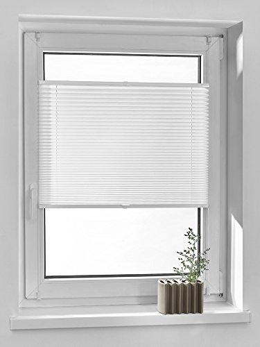 69 Breites Jalousien Fenster (Vidella Plissee comfortino blickdicht Fenstermontage türhoch 69 cm, weiß, PC-1 69b)