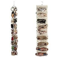 Heavy Duty 18 Pocket Hanging Shoe Organiser for the Wardrobe Rail for up to 18 Pairs - Robust Oxford Canvas Type Beige Material (600D) with Reinforced Clear PVC Pockets - 30 x 137 Centimetres - Shoe Storage Tidy Organizer by Brilliant Feet