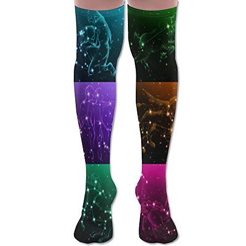 Not afraid Twelve Constellation Aesthetical Chart Unisex Knee High Long Socks Boot High Socks Length 50CM Marine Charts