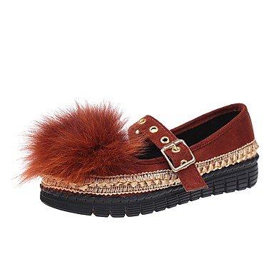 Pour Talon Automne Brun Vert En Brown Femmes De SHOESHAOGE Chaussures Les Plat Daim Tenues Appartements Bout Noir Rond Confort AaXw78Xq