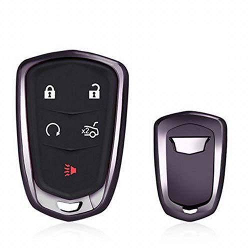 he TPU Schutzhülle Case Cover Cadillac Flip Key Fob Auto Remote Key Fob Fall für XT 5 ATSL XTS CT6 SRX Schlüsselanhänger Remote Key Key Case (Farbe : Schwarz) ()