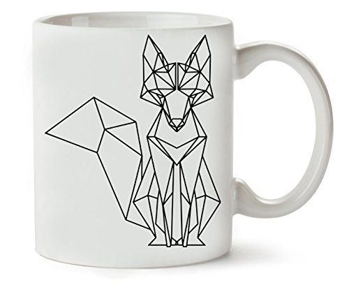 Geometric Fox Black Monochrome Art Design Taza...