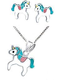 SL-SILVER juego de cadena, colgante y pendientes para niños de colores, unicornio, plata de ley 925, en caja de regalo
