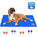 Upgraded Large Dog Cooling Mat, Waterproof & Scratchproof Activated Gel Cooling Pad for Dogs, Non-Toxic, Great Dog Accessories to Help Your Pet Stay Cool This Summer, Ideal for Home & Travel, Blue