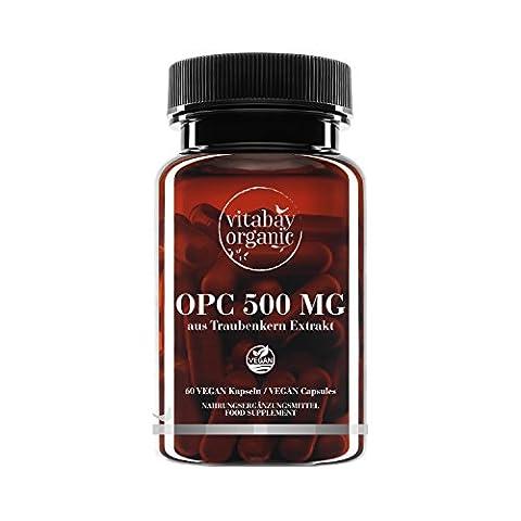 OPC 500 mg hautes doses - à partir de l'extrait de pépins de raisin - Capsules Vegan (60 capsules végétales)