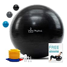 PHYLLEXI Exercise Ball - Pro Grade Anti-Burst Gym Yoga Birthing Ball (55-85cm), Extra Thick Pilates Fitness Swiss Ball with Quick Pump & Workout Guide, Supports 1000kg(Ink Black, 85cm)