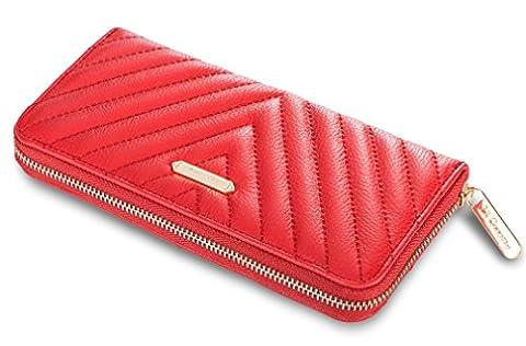 Damen Mädchen Geldbörsen Geldbeutel Portemonnaie Brieftasche Kreditkartenetui Clutch Wallet (Rot)