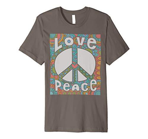 Peace Love T-Shirt 60s 70s Krawatte sterben Hippie Kostüm Hemd