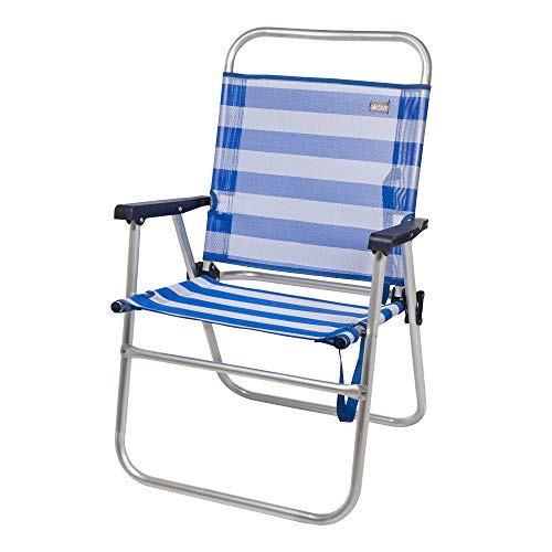 AKTIVE 53952 Silla Plegable Fija Aluminio Beach, 51 x 56 x 90 cm, Azul Oscuro
