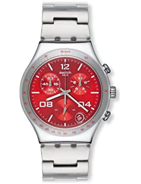 Swatch Damen-Armbanduhr Touch Blustery Red Chronograph Quarz verschiedene Materialien YCS563G